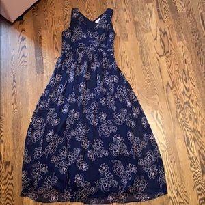 Navy Blue Motherhood Maternity Dress with Pink 🌸